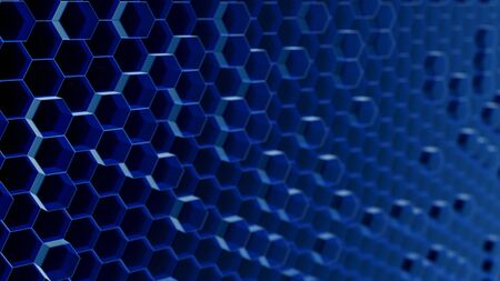Illustrated background of semi-translucent glowing blue hexagons packed together on a dark background and blurring as they recede into the distance.