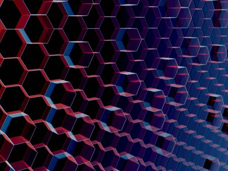 Illustrated background of semi-translucent blue and red hexagons packed together on a dark background and viewed from a slight angle so the pattern appears to recede from left to right. 写真素材