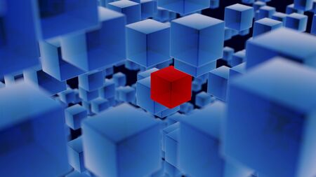 Close up illustration filled with random arrangement of many blue and one red, semi-transparent cubes at varying distances from camera on a dark blue background. Shallow depth of field with focus on c 写真素材