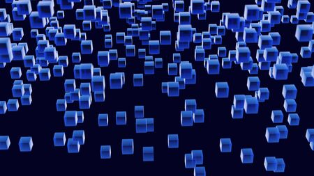 Abstract image filled with small blue, semi-transparent cubes scattered against a dark blue background. Shallow depth of field with focus on cubes in the middle distance. 写真素材