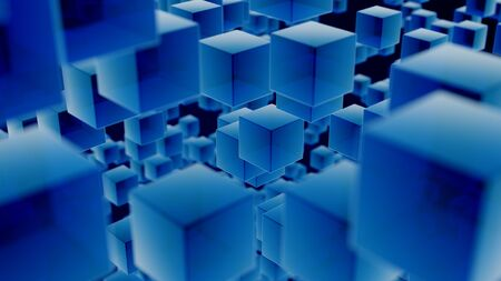 Close up illustration filled with random arrangement of identical, blue, semi-transparent cubes at varying distances from camera on a dark blue background. Focus is on cubes in the center. Zdjęcie Seryjne