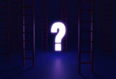 On a dark blue background, several red ladders, reaching up past the frame, are scattered around a bright, glowing question mark which provided the only light. 写真素材