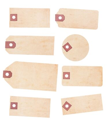 A collection of eight old yellowing paper tags. Each is suitable as a price or identification tage and is blank with room for text or images. Isolated on white
