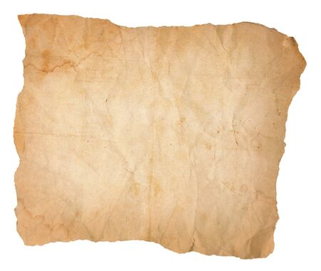 A yellowing, aging sheet of paper with water stains that has been creased and wrinkled and torn on all four sides. Isolated on white.