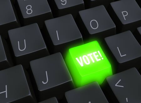 Close up 3d illustration of a black computer keyboard with a bright, glowing green VOTE! key.