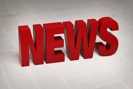 """3d illustration of a bold, red """"NEWS"""" on an out of focus background of newsprint."""
