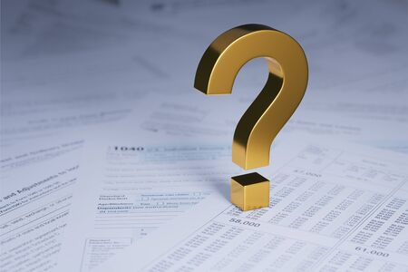 A 3d illustration of a large, bright gold question mark looms over scattered pile of tax forms receding into the distance. Shallow DOF with focus on the question Mark.
