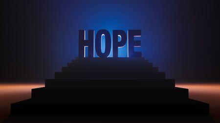 "A 3d illustration of bold ""HOPE"" standing triumphantly atop dark steps and brilliantly backlit in blue and contrasting orange lights."