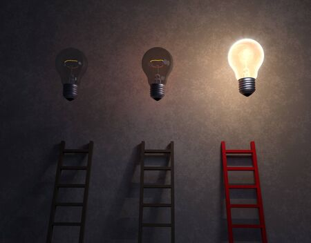 3d illustration of three ladders against a dark, concrete background. Two gray ladders reach up towards dimly lit lightbulbs while a third red ladder leads to a brilliant lightbulb glowing overhead.
