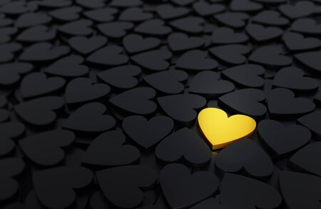 3d illustration of background of scattered black hearts with one brightly shining, gold heart standing out. Shallow DOF. Imagens