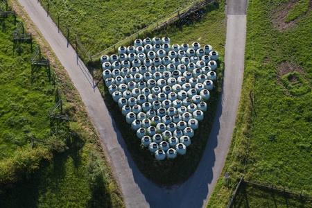shot from an hot-air balloon Stock Photo