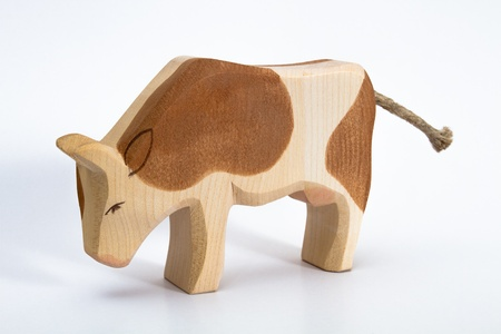 Wooden Cow Toy Stock Photo