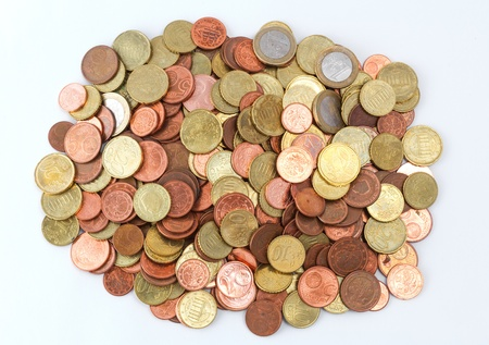 Pile of Euro coins top view
