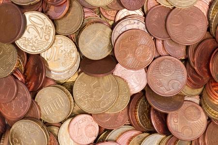 Pile of Euro coins top vie close