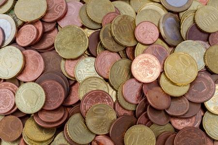 Euro coins top view