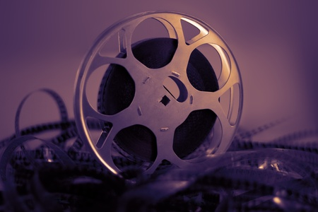 Film reel with celluloid in warm atmosphere
