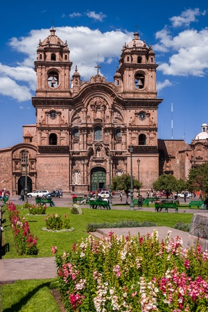 plaza of arms: Church in Cusco Stock Photo