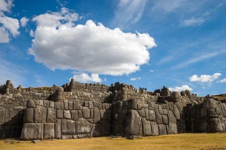 incan: Sacsayhuaman in Cusco in Peru with beautiful clouds