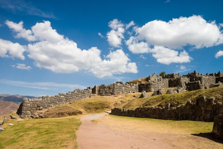 cusco: Sacsayhuaman in Cusco in Peru with beautiful clouds