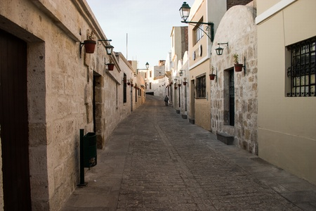 Arequipa old street with stone houses Stock Photo