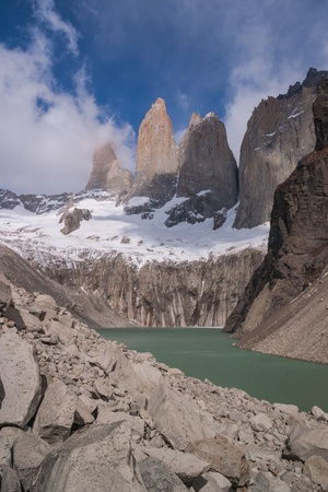 Torres del paine in Chilean National Park with lake photo