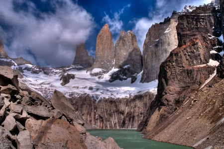 alpenglow: Torres del paine in Chilean National Park with lake HDR Stock Photo
