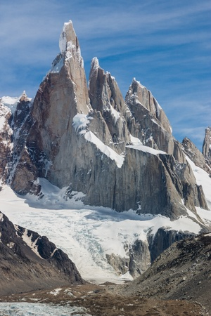Cerro Torre at perfect weather no clouds vertical photo