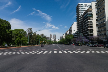 buenos: Buenos Aires street with twelve lanes Stock Photo