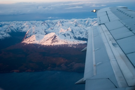 In the airplane close to Ushuaia Stock Photo
