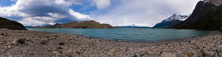 Torres del paine in Chilean National Park with lake Nordenskjoeld photo