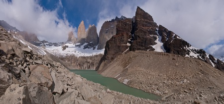 Torres del paine in Chilean National Park with lake PANORAMA photo