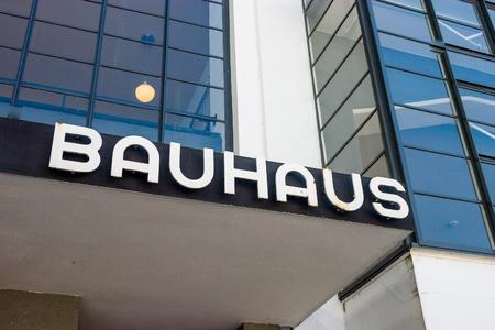 Bauhaus Dessau writing Stock Photo