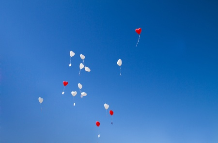 Heart balloons at the sky