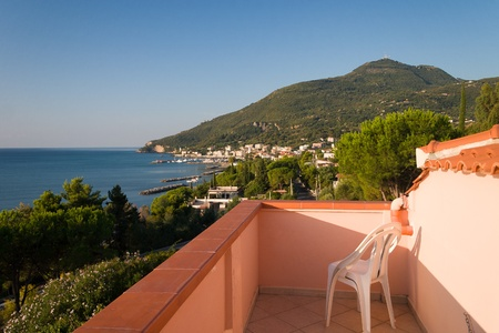 Italian sea from holiday balcony Stock Photo