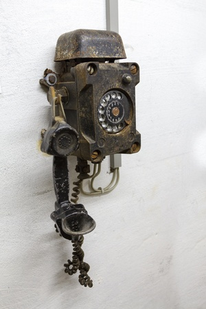 defense facilities: Old phone in bunker in Germany in the underground