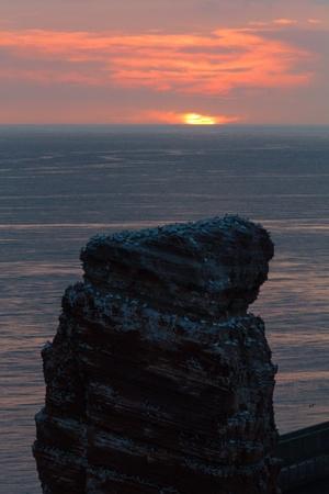 helgoland: Top of Lange Anna Sundown on Helgoland calm sea