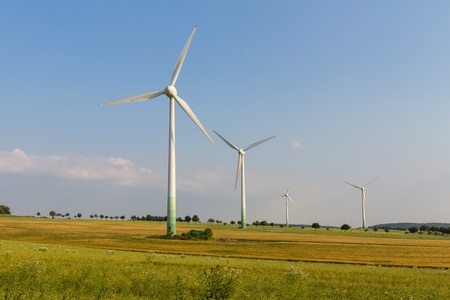 Wind engines with wild meadow and wheat field