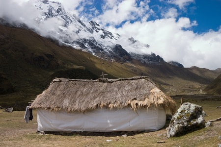 Hut in the peruvian Andes on Salcantay trail photo