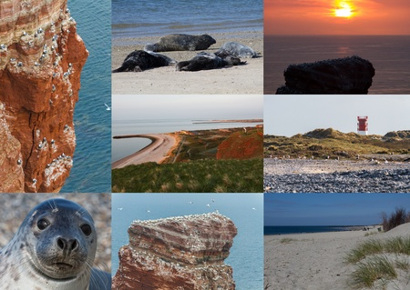 helgoland: Postcard collage with spots on Helgoland North Germany Stock Photo