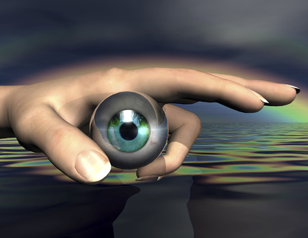 seeing: surrealistic composition of eye and hand Stock Photo