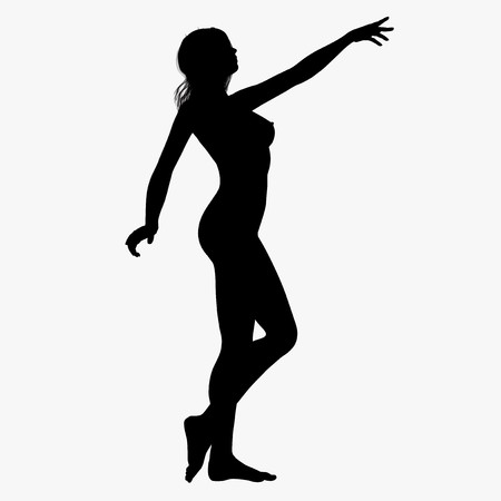 nude woman standing: Silhouette of a posing girl Stock Photo