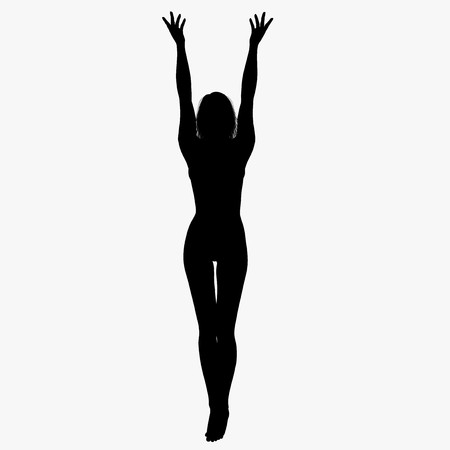 Silhouette of a posing girl Stock Photo