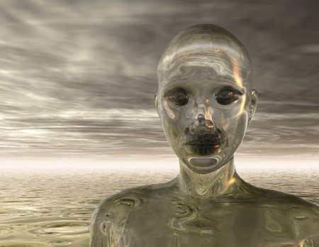 robot woman: Digital visualization of a human