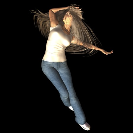 bombshell: Digital rendering  Pose of a jumping woman