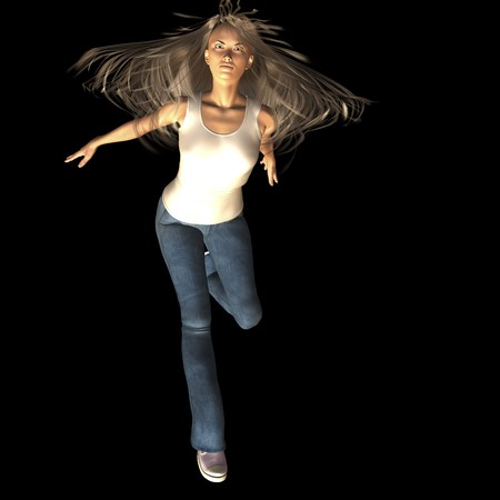longhaired: Digital rendering  Pose of a jumping woman
