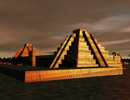 cultic: digital scene with prehistoric mexican pyramids