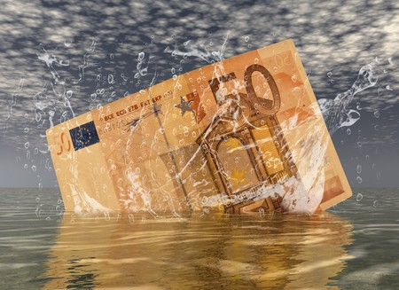 wordwide: digital composition of a euro note Stock Photo