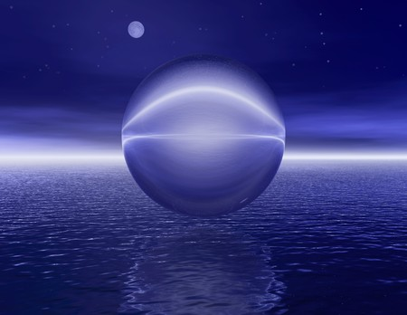 reflektion: Surrealistic bubble by night