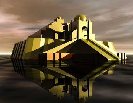 Digital visualization of a ziggurat Stok Fotoğraf