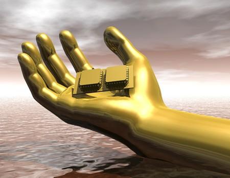 Digital visualization of a hand with chip 版權商用圖片